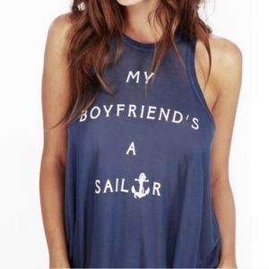 WILDFOX | Sailor Ribbed Racerback Boyfriend Tank
